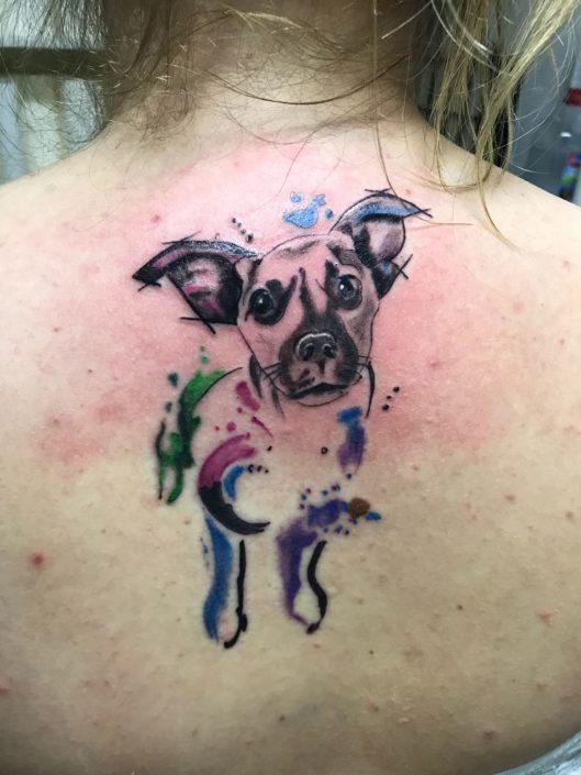 Bunter Hund Tattoo